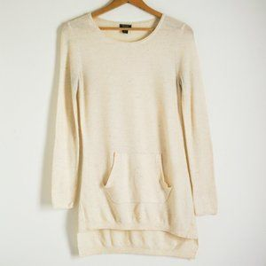 Cream Roots Thin Knit Sweater / Front Pouch